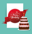 happy birthday cake card greeting event vector image vector image