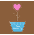 heart flower in pot Happy Valentines Day vector image vector image