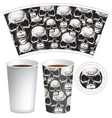 hot drink paper cup template with human skulls vector image