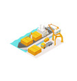isometric cargo harbor terminal barge container vector image