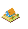 isometric house on white background vector image vector image