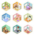 isometric rooms designed house living room vector image vector image