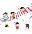 Kids enjoying playing music vector image vector image