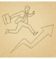 Man running on arrow going upwards vector image vector image