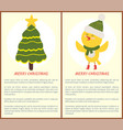 merry christmas greeting card with chicken tree vector image vector image