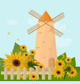 mill in the summer sunflowers provence vector image vector image