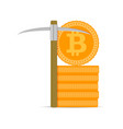 mining bitcoins gold vector image vector image