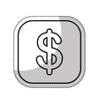 money symbol in button isolated icon vector image