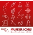 murder outline icons vector image vector image
