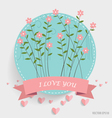 Note paper with ribbon heart and floral bouquets vector image vector image
