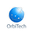 orbit technology blue sphere logo concept design vector image