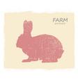 rabbit hare silhouette vintage label rabbit vector image