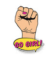 raised womens fist in pop art comic style placard vector image vector image