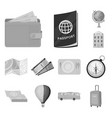 rest and travel monochrome icons in set collection vector image vector image
