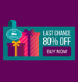 sale 80 percent off gift boxes on landing page vector image