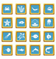sea animals icons azure vector image vector image