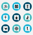set of 9 editable faith icons includes symbols vector image vector image