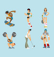 set of sports women vector image