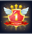 shield with victory banner stars and wings vector image
