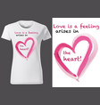 t-shirt design with pink painted heart vector image vector image