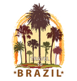 Travel Banner with Palm Trees for Brazil vector image vector image