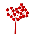 tree with hearts on a white background vector image vector image
