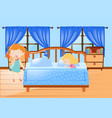 two girl getting in bed vector image vector image