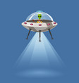 ufo flying spaceship with alien isolated on blue vector image vector image