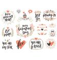 Valentines day hand drawn set vector image