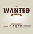 wanted western movie poster vector image vector image