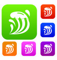 wave set color collection vector image vector image