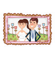 wedding portrait cartoon vector image vector image