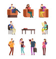 young woman and man college students reading book vector image vector image