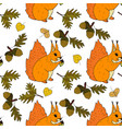 autumn seamless pattern with squirrel vector image