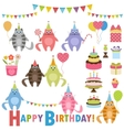 Birthday party set with cats vector image vector image