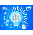bright light bulb and buildings on blue back vector image vector image