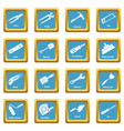 building hand tool icons set sapphirine square vector image vector image