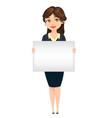 businesswoman holding blank banner for vector image