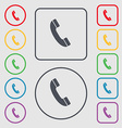 Call icon sign symbol on the Round and square vector image vector image