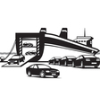 Cargo ship unloading new cars vector image vector image