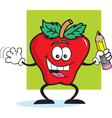 Cartoon Apple Student vector image vector image