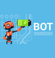 chat bot hold battery robot virtual assistance vector image vector image