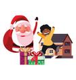 christmas santa boy and gift box house vector image