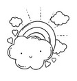 cloud and rainbow cartoon in black and white vector image vector image