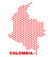 colombia map - mosaic of valentine hearts vector image vector image