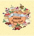 doodle vintage desserts frame cakes ice cream vector image