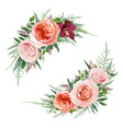 elegant floral bouquet set pale coral rose flowers vector image