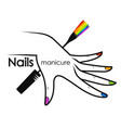 female hand and brush for painting nails vector image