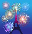 fireworks on eiffel tower in paris beautiful vector image vector image