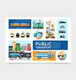 flat public transport infographic template vector image vector image